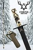 Cervus - Lanza de Caza, Tratamiento OP-Coated®, Funda de Cuero 100% para Cuchillo, Acero MOVA-58. Diseñada y Fabricada en España. Camuflaje Hunter Snow