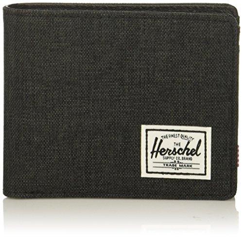 Herschel unisex adult Hank Rfid Bi Fold Wallet, black crosshatch/black, One Size US