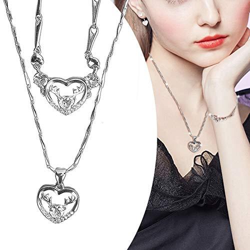 Collar de Ciervo, Conjunto de Collar de Pulsera Plata Collares Pendientes Amor Romántico Recuerdo Regalos para el Día Madre Joyería para el Día San Valentín Regalo para Mujer Esposa Novia(White)