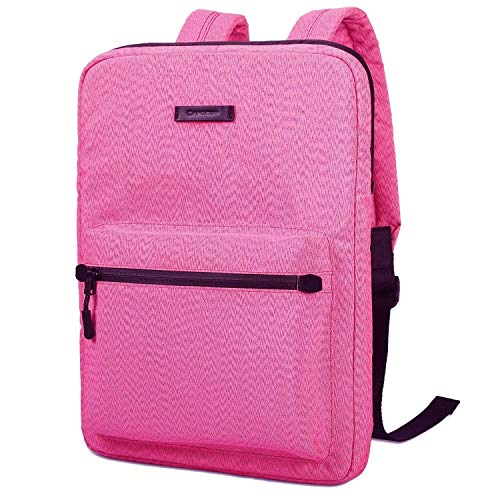 JINXIUCASE Canvas Lightweight Laptop Bag,Fashion Laptop Backpacks,13.3 14 15 inch Chromebook Laptop Bag for MacBook Touchbar 15 Pro (Color : Pink, Size : 13.3-15.4 inch)