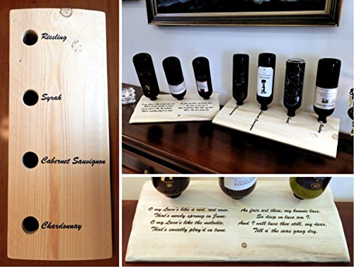 Personalized Table top Wine Rack | 3 or 4 bottle | Handmade with your custom text painted on