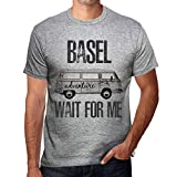 One in the City Hombre Camiseta Vintage T-Shirt Gráfico Basel Wait For Me Gris Moteado