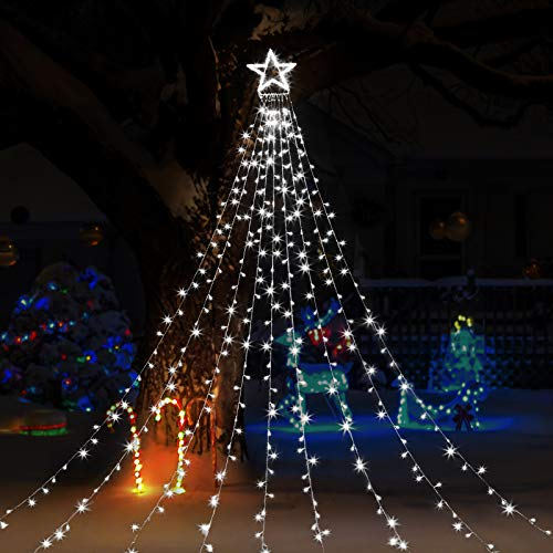 GIGALUMI Christmas Decorations Lights 344 LED Star Lights 8 Lighting Modes Outdoor Tree Decorations for Christmas Yard, Garden, New Year, Holiday, Wedding, Party(White)