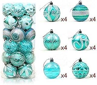 Rrunzfon Bola de Navidad de 6 cm Decoración de árbol de Navidad Azul Claro Paquete de 24Bolas de Navidad Bolas para árbol de Navidad