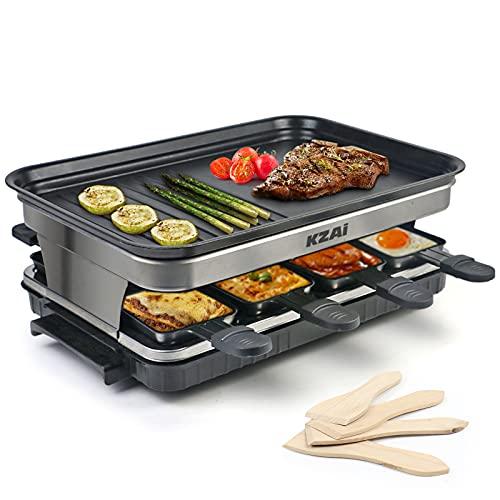 Kzai Raclette Grill Parrillas Electricas, Barbacoa Grill Eléctrico con 8 Mini Sartenes para 4 Personas, Antiadherente Termostato, 1500W