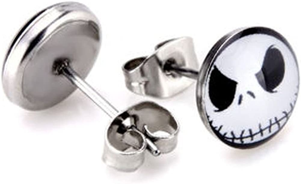 One Pair of New Small Hypoallergenic Skeleton 316L Surgical Stainless Steel Small (10 mm) Stud Earrings Skull