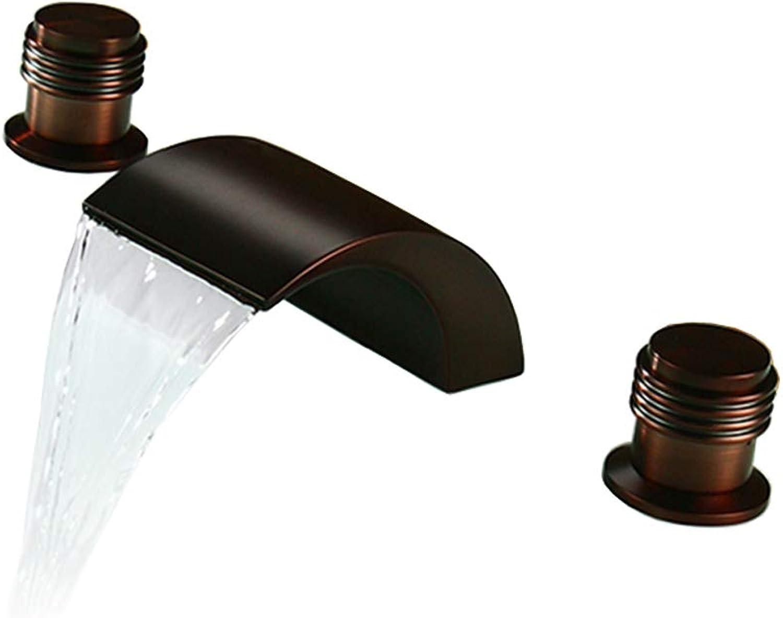 Messing Wasserfall Waschbecken Wasserhahn 3 Loch Doppelgriff l Eingerieben Bronze Finish Becken Kalt Heier Mischbatterie für Home Hotel KTV Bar,A