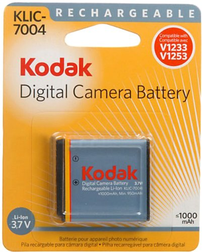 Kodak Li-Ion Rechargeable Digital Camera Battery KLIC-7004 - Batería/Pila Recargable (1000 mAh, Ión de Litio, 3, 3.7V, 0-50 °C, -20-30 °C, 17,5g)