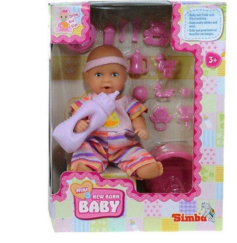 Simba 105033195 - Mini - New Born Baby, Vollvinyl-Puppe, 12 cm, inklusive Zubehör, sortiert
