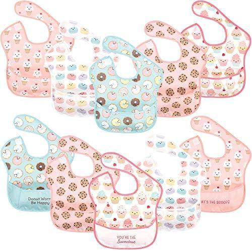 Hudson Baby Unisex Baby Waterproof Polyester Bibs Sweetest Cupcake Feeder product image