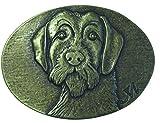 Brazil Lederwaren Gürtelschnalle Deutsch Drahthaar 4,0 cm | Buckle Wechselschließe Gürtelschließe 40mm Massiv | für Jagd-Outfit und Hunde-Besitzer