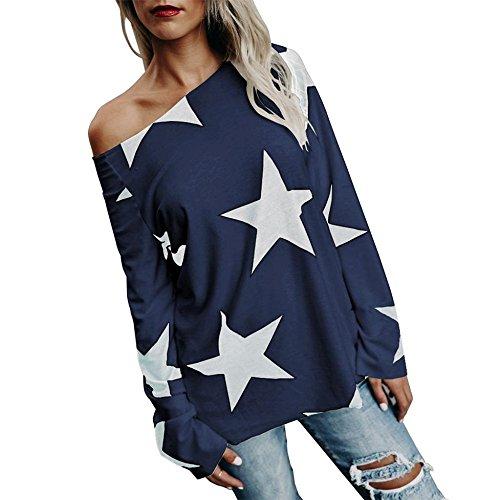 Damen Bluse, KIMODO Frauen Mädchen trägerloses Stern Sweatshirt Lange Hülsen Ernte Jumper Pullover Spitzen (Marine, L)