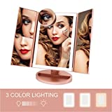 FASCINATE Trifold Lighted Makeup Mirror 3 Color Lighting 72 LEDs Makeup Vanity Mirror with...