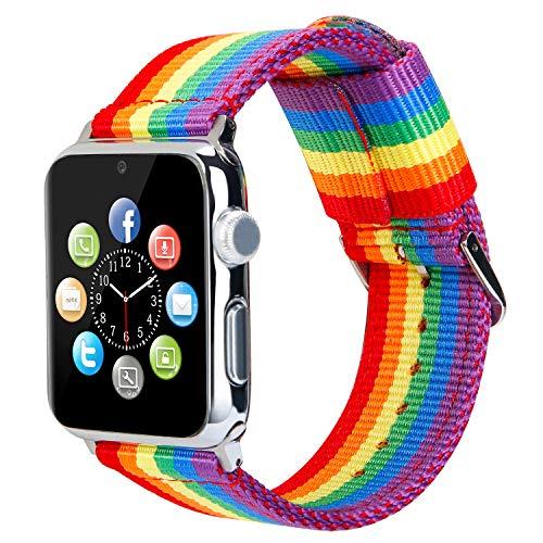 ESTUYOYA - Bracciale in Nylon Compatibile con Apple Watch Colori di Orgoglio Gay LGBT, Regolabile Ricambio Stile Sportivo, Casual Eleganti per 38mm 40mm Series 6/5 / 4/3 / 2/1 / SE