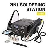 Z ZELUS 2 en 1 SMD Estación de Soldadura Digital 70W Soldador Electronica con 750W...