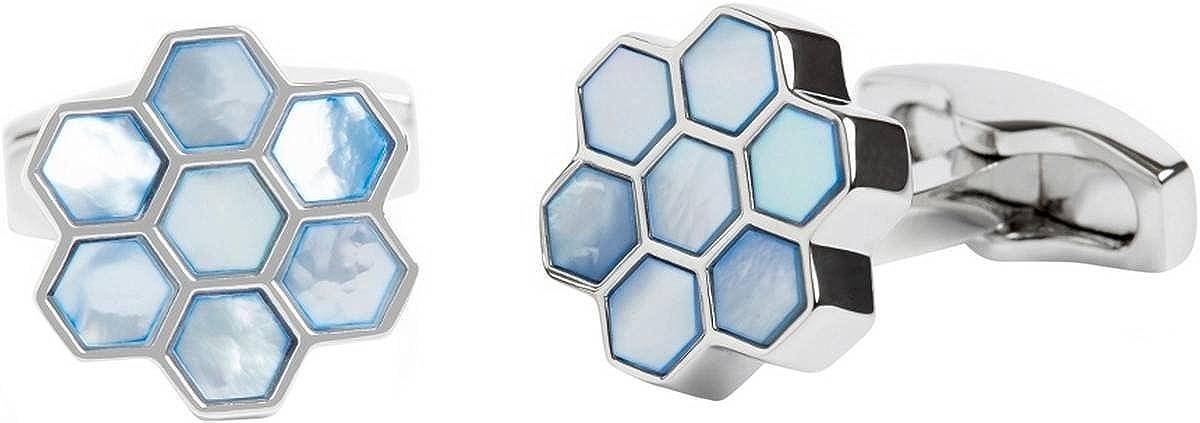 Simon Carter Mens Mother of Pearl Honeycomb Cufflinks - Blue