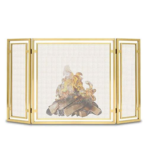 Pantalla Chimenea Oro Guardia de Protección contra Chispas de Chimenea, Tarea Pesada Malla de Acero Pantalla de Fuego para la Seguridad de Los Niños/Perros, el 138cm × 76cm