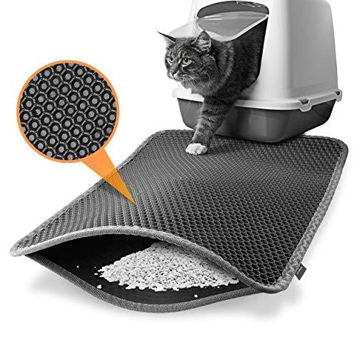 Heimwert Katzenklo Matte Katzenstreu Katzenmatte - Nur für die beste Fellnase - Wasserdichter Premium Vorleger für die Katzentoilette I Katzen Katzenstreu Teppich Katze Klo cat litter mat (61*39cm)