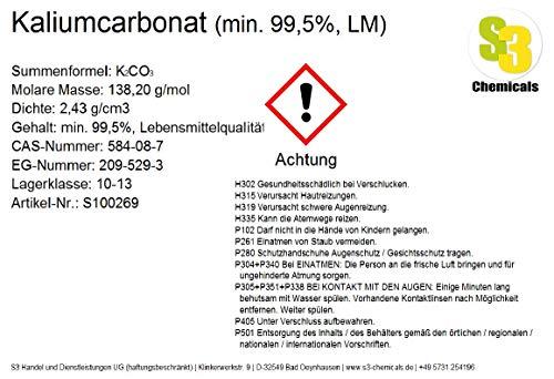 S3 Chemicals Kaliumcarbonat (Pottasche) (min. 99,5{f9d30387aa8f71682920c4d5767222fbe5c7c67105544623d6e6886acb26a229}, Lebensmittelqualität) Gebindegröße 100g