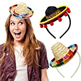 2 PCS Cinco de Mayo Fiesta Fabric and Straw Sombrero Headbands Hat for Fiesta Carnival Birthday Summer Party Green