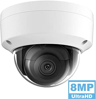 8MP 4K UltraHD Outdoor Security POE IP Camera OEM-DS-2CD2185FWD-I, 2.8Lens, 98ft Night Vision Dome Camera, Smart H.265+, SD Card Slot, WDR DNR, IP67 IK10, ONVIF