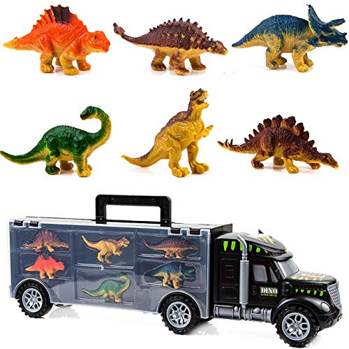 Toysery Monster Truck Dinosaur Toys - Educational Kids Toys for 3 Year Old Boys and Girls - 6 - Pc Jurassic Park Toys for Kids - Durable Transport Carrier Dinosaur Tractor Toys Set