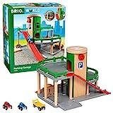 Brio World - 33204 - Garage Rail / Route - Accessoire pour circuit de train en bois - 3 niveaux - Véhicules inclus - Action de jeu sans pile - Jouet pour garçons et filles dès 3 ans