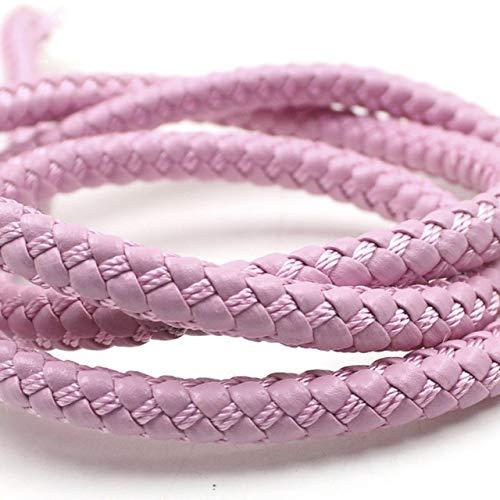 HUAHU Pulsera de Cuero PU Trenzada Redonda de 2 Metros y 8mm, fornituras de Cuerda de Cuero PU, Cuerda DIY, Collar, fabricación de Pulseras
