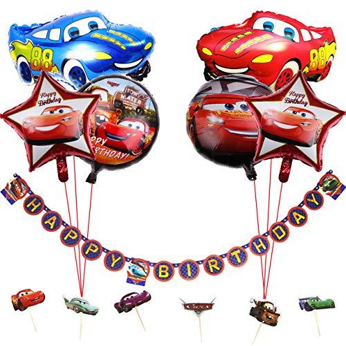 Fiesta de cumpleaños para auto Suministros para niños con tema de vehículo FELIZ CUMPLEAÑOS Banner, Globos de aluminio para auto, 1ª Fiesta de cumpleaños