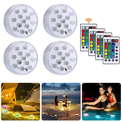 Migimi Unterwasser Licht, Wasserdichte RGB Multi Farbwechsel LED Leuchten für Halloween, Schwimmbad, Weihnachten, Hochzeit Party Dekorationen, Dekoration Unterwasserlicht mit Fernbedienung, 4 Stück