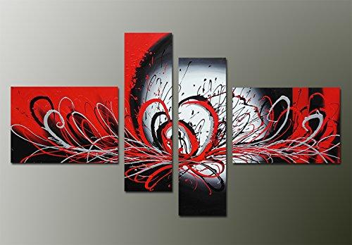 Fokenzary 100% pintado a mano en rojo y negro moderno contemporáneo abstracto estallido colores que fluyen pintura sobre lienzo enmarcado listo para colgar