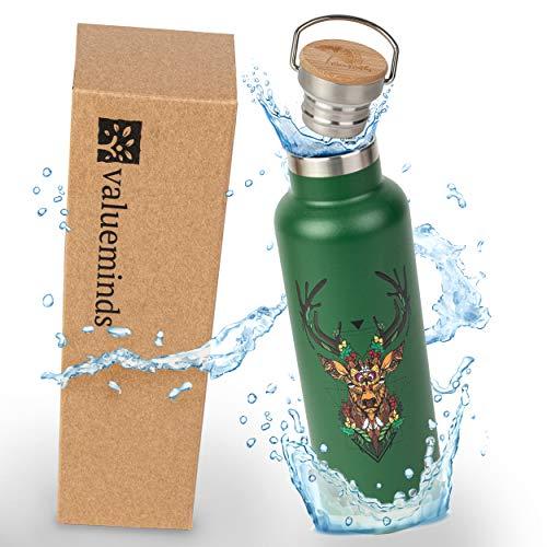 Geo Bottles Edelstahl Trinkflasche, Thermosflasche doppelwandig isoliert, Isolierflasche, Trinkflasche BPA frei und nachhaltig, 10 Stunden heiße und kalte Getränke