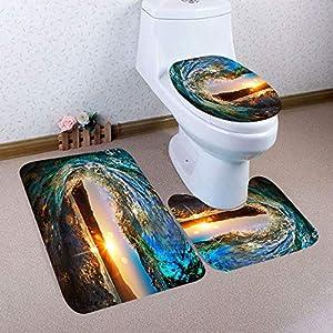 Clearance Sale!DEESEE(TM)???????? 3PCS Christmas Bathroom Non-Slip Pedestal Rug + Lid Toilet Cover + Bath Mat Set (C)
