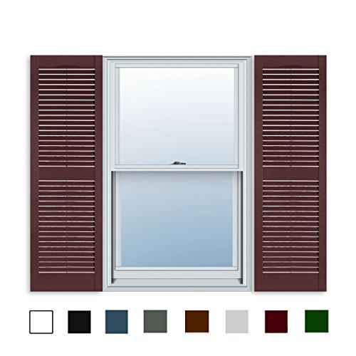 15 Inch x 51 Inch Standard Louver Exterior Vinyl Window Shutters, Burgundy (Pair)