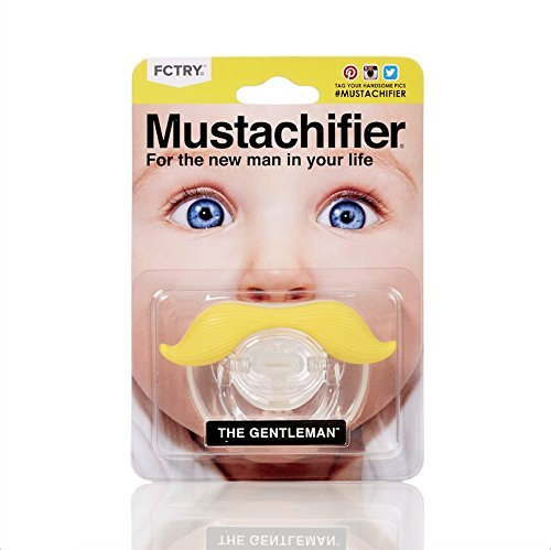 Hipsterkid BPA Free Mustachifier for Infants & Toddlers 0-6 Months, Baby Orthodontic Mustache Pacifier - Gentlemen Blonde