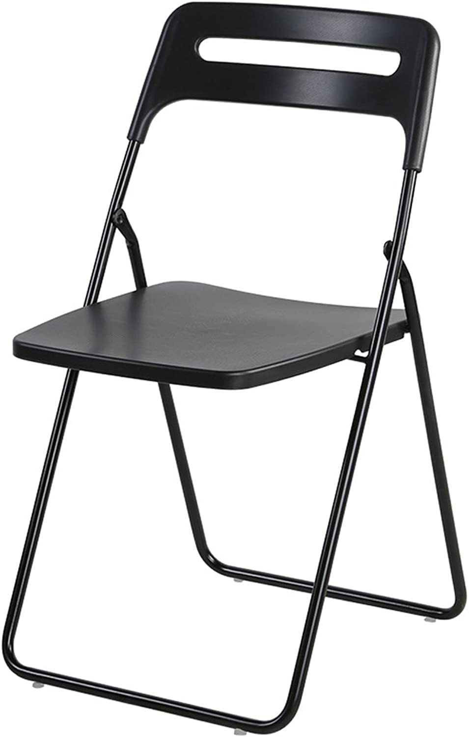 Folding Chair Portable Conference Chair Adult Dining Chair Student Plastic Stool Household Chair (color   Black)