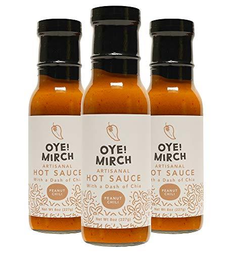 Premium Oye!Mirch Peanut Chili Hot Sauces, 8 oz Each, 3 Pack- Made in California
