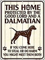 Smart Blonde ビンテージ風 英語版 おしゃれな 猛犬注意の看板 プレート 犬がいます 屋外OK 錆びないアルミ製 (ラージ(30.5x46cm), ダルメシアン) LGP-1678