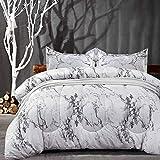 NANKO Comforter Set Queen Size, White Black Marble Print 88 x 90 inch Reversible Down Alternative Comforter Microfiber Duvet Sets (1 Comforter + 2 Pillow) Best Modern Bedding for Women Men,Gray Grey