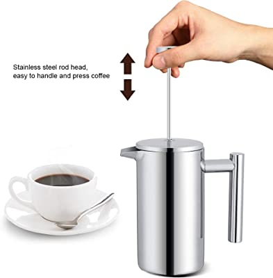 Bracon French Press Coffee Maker - 350ML Double Wall Stainless Steel Coffee Maker French Press Tea Pot with Filter