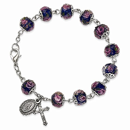 Solid Silver-Tone Hand Painted Blue Beads Rosary Bracelet