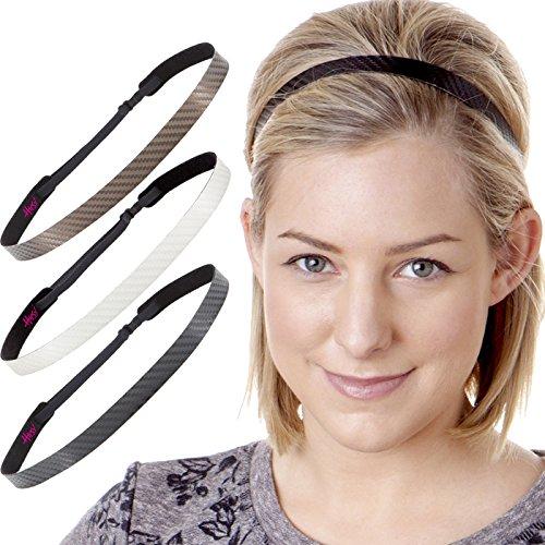 Hipsy Women's Adjustable NO Slip Skinny Tech Sport Headband Multi Packs (Black/White/Brown 3pk)