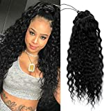 150g Fuller Human Hair Ponytail Extension Brazilian Natural Curly Wavy Black Drawstring Pony Tail Real Hair Pieces with Clips In Ponytails 16 Inch