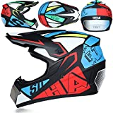 Casco de motocross, moto Sports Off-Road DH Enduro, ATV, quad, casco de moto para hombres, mujeres y niños, casco de cross con guantes, máscara protectora y gafas (multicolor, M)