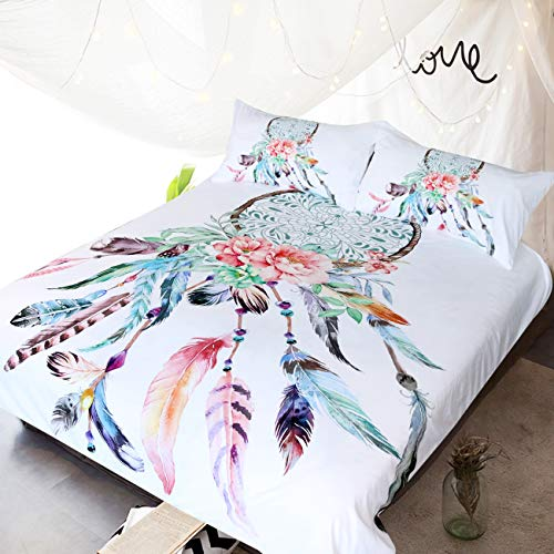BlessLiving Big Dreamcatcher White Bedding, 3 Piece Dream Catcher Duvet Cover Set, Boho Doona Cover Hippie Bedspread Coverlet(Double)