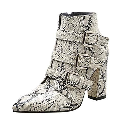 Rawdah Botas Mujer Invierno Botas de Mujer Patrón de Piel de Serpiente de Las Mujeres Dedo Cremallera Hebilla del cinturón de Punta Grueso Botines Zapatos Botas Zapatos Mujer Plataforma
