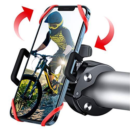 """WOEOA Supporto Telefono Bicicletta, [2020 Nuovo] Porta Cellulare Bici 360° Rotabile Universale Supporto Smartphone per Bici, Moto Ciclismo MTB GPS Navigatore per iPhone Samsung Note da 4""""-7"""" (Nero)"""