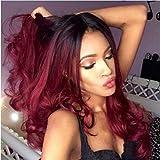 Peluca para mujeres afroamericanas, pelucas de color borgoña con raíces negras, aspecto...