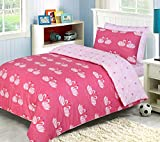 Indus Textiles Kids Girls Bedding Sets - 100% Soft Cotton - Duvet Cover With Fitted Sheet and Pillowcases Matching - Reversible - Swan Love - Single Complete Set