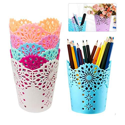BoloShine 7 Stück Stiftehalter Stifteköcher, Hollow Blume Kunststof Stiftebecher Round Durable Stiftehalter für Schreibtisch Stifte Halter Lineal Make-up-Pinsel Organizer (7 Farbe)